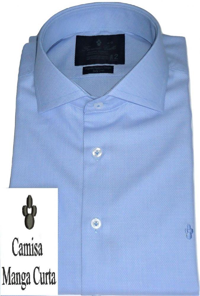 Camisa Azul Claro Manga Curta Maquinetada Gola Dupla Italiana Algodão Fio 80 Egípcio