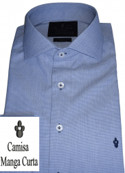 Camisa Manga Curta Azul Maquinetada Gola Dupla Italiana Algodão Fio 80 Egípcio