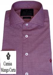 Camisa Bordo Maquinetada Manga Curta Gola Italiana Dupla Algodão Fio 80 Egípcio