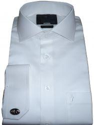 Camisa Social para Casamento de Abotoadura Branca Lisa  Gola Italiana Dupla Algodão Fio 80 Egípcio