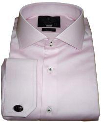 Camisa Abotoadura Rosa Giz Lisa Gola Italiana Dupla Algodão Egípcio Fio 80