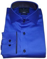 Camisa Social Azul Royal Lisa Sport Gola Dupla  Algodão Fio 80