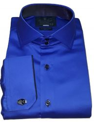Camisa Abotoadura Sport Azul Royal Gola Dupla Italiana Fio 80 Egípcio