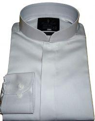 Camisa Gola Padre Cinza Claro Algodão Egípcio Fio 80