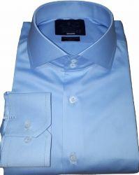 Camisa Social Azul Claro Sport Lisa Gola Dupla Italiana Algodão Egípcio Fio 80