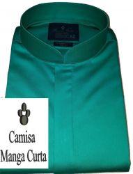 Camisa Verde Manga curta Gola padre Lisa Fio 80 Egípcio