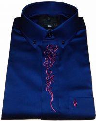 Camisa Social botões escondidos Azul Marinho Lisa Bordado Arabesco Algodão Fio 80 Egípcio