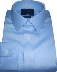 Camisa Colarinho Francês Azul Claro Lisa Gola Dupla Fio 80 Egípcio