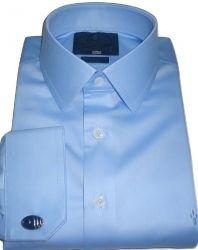 Camisa de Abotoadura Azul Claro Colarinho Francês Duplo Algodão Fio 80 Egípcio