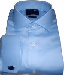 Camisa Abotoadura Azul Claro Lisa Colarinho Italiano Duplo Algodão Fio 80 Egípcio
