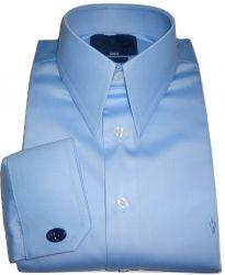 Camisa de Abotoadura Colarinho Inglês Clássico Duplo Azul Claro Lisa Algodão Fio 80 Egípcio