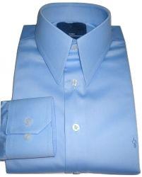 Camisa Social Azul Claro Gola Inglesa Clássica Dupla Algodão Fio 80 Egípcio