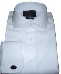 Camisa Social de Abotoadura Branca Lisa Gola Italiana Dupla Algodão Fio 80 Egípcio