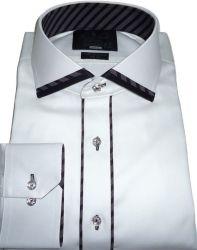 Camisa Sport Branca Lisa Gola Dupla Algodão Fio 80 Egípcio