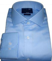 Camisa Social Azul Claro  Lisa Italiana Gola Dupla Algodão Egípcio Fio 80