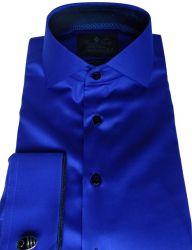 Camisa Social com Abotoadura Azul Royal Lisa gola dupla Algodão Fio 80 Egipcio