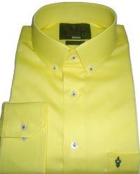 Camisa colarinho Americano Amarela Lisa Algodão Fio 80 Egípcio