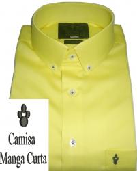 Camisa Amarela Manga Curta Colarinho Americano Lisa Algodão Fio 80 Egípcio