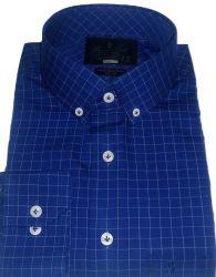 Camisa Colarinho Americano Xadrez quadriculado Azul Marinho Algodão Fio 80 Egípcio