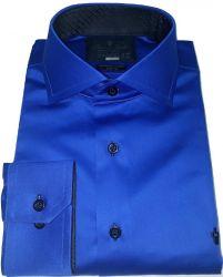 Camisa Azul Royal Lisa Gola Dupla Italiana Algodão Fio 80 Egípcio