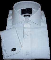 Camisa Abotoadura Branca com Prata Maquinetada Gola Italiana Algodão Fio 80 Egípcio