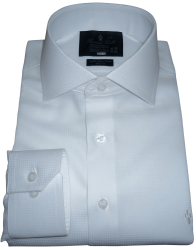 Camisa Branca Social Maquinetada Colarinho Italiano Algodão Fio 80 Egípcio