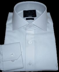 Camisa Branca com Prata Maquinetada Gola Italiana Algodão Fio 80 Egípcio
