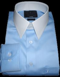 Camisa Colarinho Inglês Tradicional Azul Claro Lisa Gola Dupla Fio 80 Egípcio