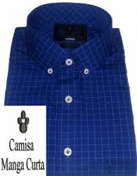 Camisa Manga Curta Xadrez quadriculado Azul Marinho Gola Americana Algodão Fio 80 Egípcio