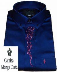 Camisa Manga Curta Azul Marinho Lisa Colarinho Americano Algodão Fio 80 Egípcio