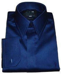 Camisa Gola Inglesa Botões Escondidos Azul Marinho de Abotoadura Algodão Fio 80 Egípcio