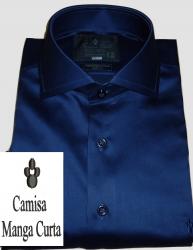 Camisa Manga Curta Azul Marinho Lisa Algodão Egípcio Fio 80