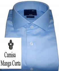 Camisa Manga Curta Azul Claro Lisa Gola Dupla Italiana Algodão Fio 80 Egípcio